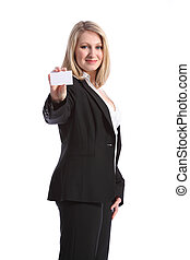 Beautiful smiling woman holding business card - Confident...