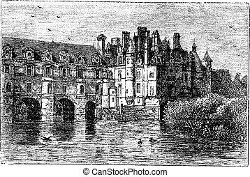Chenonceau Castle vintage engraving
