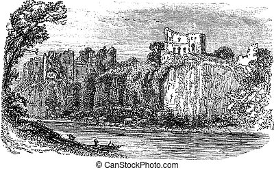 Chepstow Castle, in Monmouthshire, Wales, during the 1890s,...