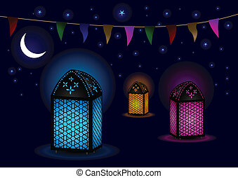 Beautiful Islamic Lamps at night