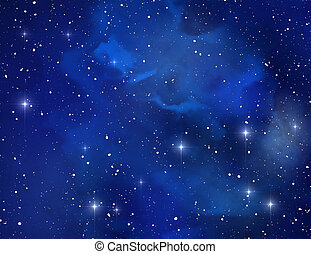 Blue space nebula ( abstract background )