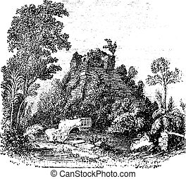The castillo at Chichen Itza vintage engraving - The...