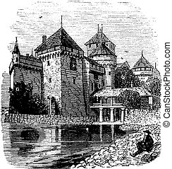 Chillon Castle or Chateau de Chillon in Veytaux, Switzerland, during the 1890s, vintage engraving