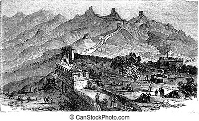Great Wall of China, during the 1890s, vintage engraving....