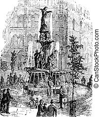 Tyler Davidson Fountain or Genius of Water or The Lady or The Fountain, in Cincinnati, Ohio, USA vintage engraving