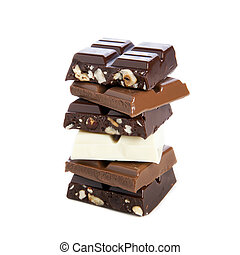 Chocolate Bars - Pile of chocolate bars isolated on a white...