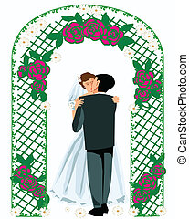 Bride and Groom - Bride and groom are kissing under arch of...