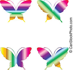 Butterflies Rainbow - Set of four colored butterflies vector...