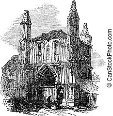 Colchester Abbey, in Essex, England, vintage engraving -...