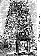 umbakonam or Coombaconum, in Tamil Nadu, India, vintage engraving