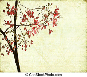Blossom Design on Antique Ribbed Background - Blossom Design...