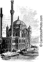 Sultan Ahmed Mosque or Blue Mosque in Istanbul, Turkey, vintage engraving