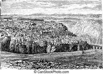 Constantine, in Algeria, vintage engraving - Constantine, in...