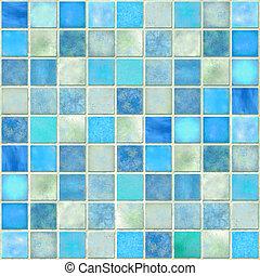 Blue Tile Mosaic - Image of a Blue Tile Mosaic Background