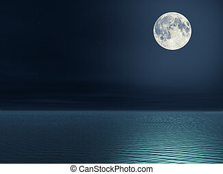 Moon over the sea - The full moon and stars over the sea