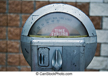 Vintage Parking Meter - Time expired sign on antique parking...