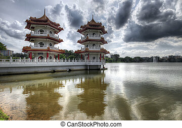 Twin Pagodas at Chinese Garden