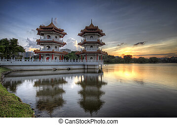 Twin Pagodas in Chinese Garden at Sunset
