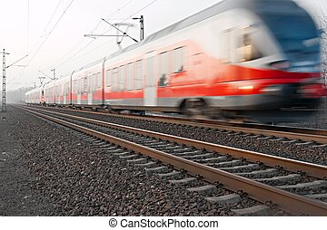 Train passing by with motion blur