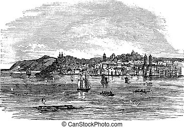 Galati in Romania vintage engraving - Galati in Romania,...