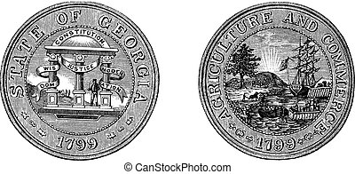Great Seal of the State of Georgia USA vintage engraving -...
