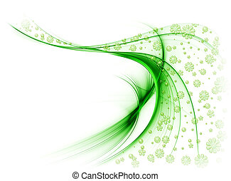 Green veil of flowers in the wind, on a white background