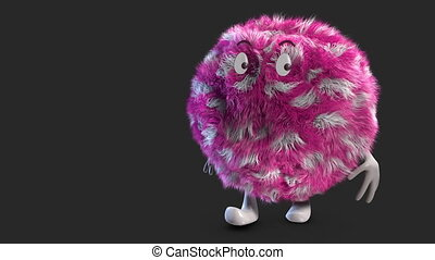 pinkey hairy ball alpha channel - Fluffy Hairy Ball Walking...