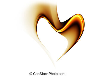 golden stream of love forming a heart