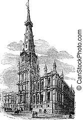 The Town Hall, Halifax, West Yorkshire vintage engraving....