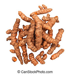 Turmeric Roots in a Pile Isolated with clipping path