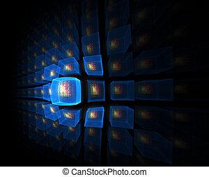 blue luminous cubic perspective