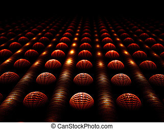 Cluster, shiny spheres and tubes in a row - Abstract...