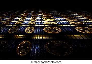 casino, blue and golden abstract perspective
