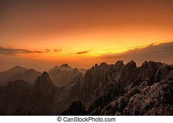 Yellow Mountain Sunset - Sunset over the Yellow Mountain or...
