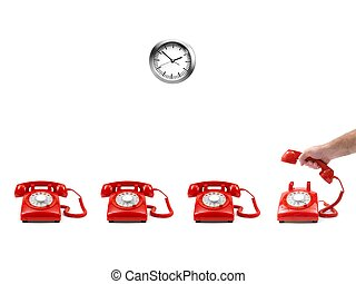 Telephones isolated against a white background
