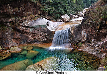 Emerald Valley Waterfall - A beautiful Chinese waterfall in...
