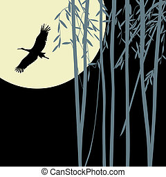 Bamboo background  with flying stork silhouette