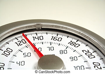 Weighing In - A close up of a weight scale set at 128