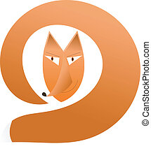 fox - head fox with a tail on a white background vector