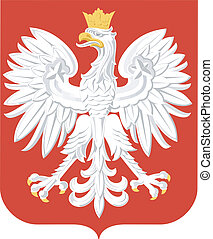 coat of arms of - national arms of Poland on a white...