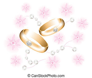 vector golden wedding rings with diamonds