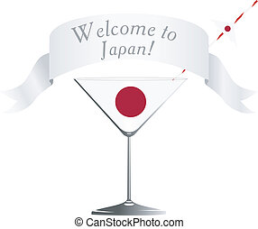 Wine glass with national symbolics of Japan