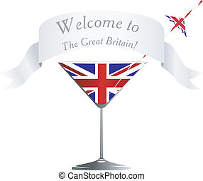 Wine glass with national symbolics of Great Britain