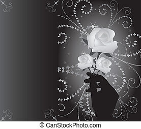vector roses in hand