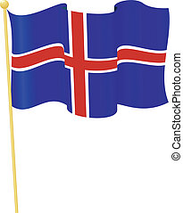 flag of Iceland. vector - vector illustration of flag of...