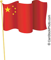 flag of China. vector - vector illustration of flag of China...