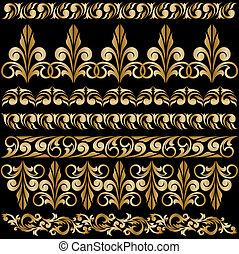 set of gilt ornaments