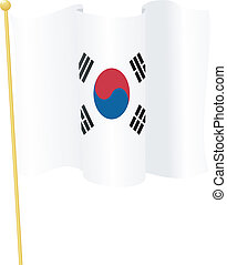 flag of Republic of Korea. vector - vector illustration of...
