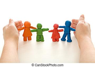 protegendo, essenciais, -, família, conceito