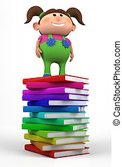 girl standing on a stack of books